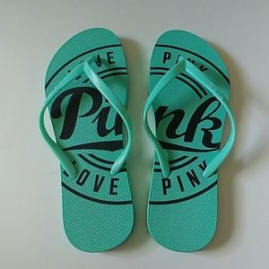 PINK teal flip flops. Great used condition. 9-10